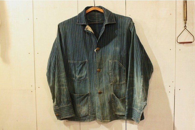 1920 stiffel railroad jacket vintage long john blog clothing treasure hunting japan used worn-out blue old train authentic rare  (10)