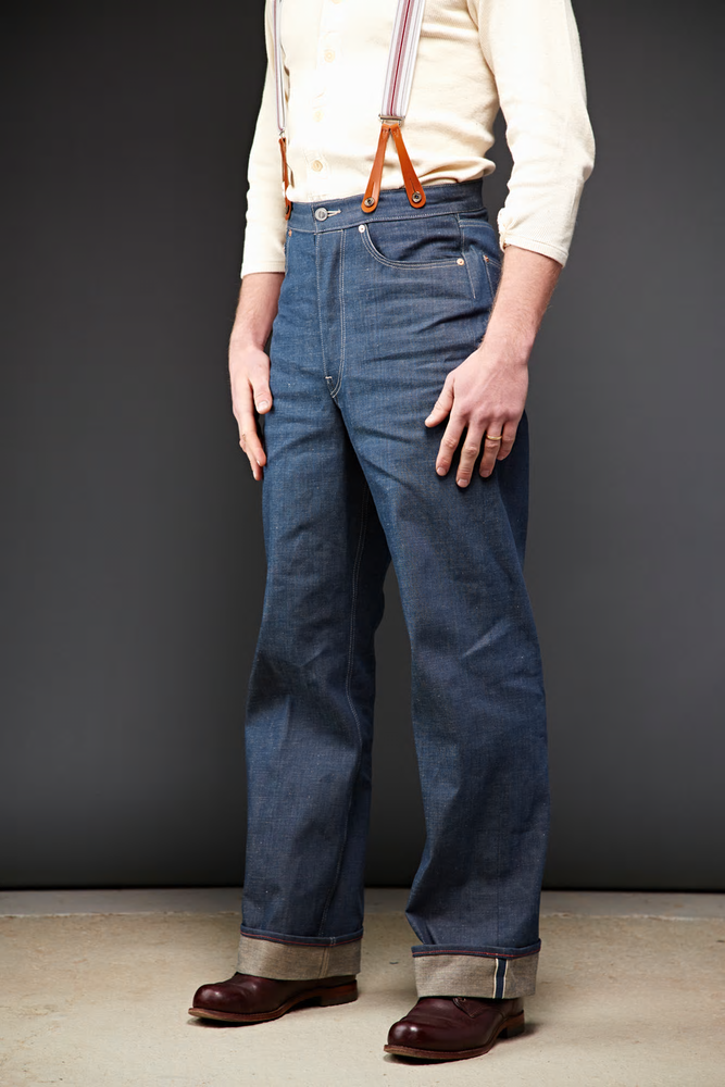 Dawson Wide leg jeans  DD03 white selvedge long john blog selvage handmade uk blue indigo natural shuttle loom single needed 5 pocket miners western cowboy (1)