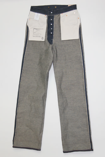 Dawson Wide leg jeans  DD03 white selvedge long john blog selvage handmade uk blue indigo natural shuttle loom single needed 5 pocket miners western cowboy (2)
