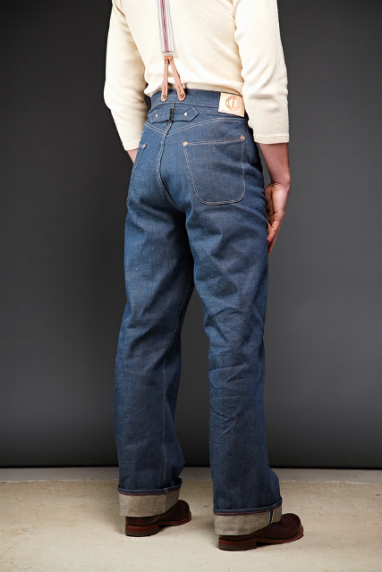 Dawson Wide leg jeans  DD03 white selvedge long john blog selvage handmade uk blue indigo natural shuttle loom single needed 5 pocket miners western cowboy (3)