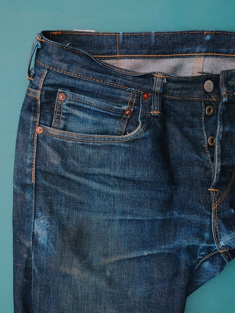 ED-55 Made in Japan edwin jeans long john blog 14oz selvage selvedge blue indigo raw rigid unwashed red listing leather patch worn-out spijkerbroek (1)