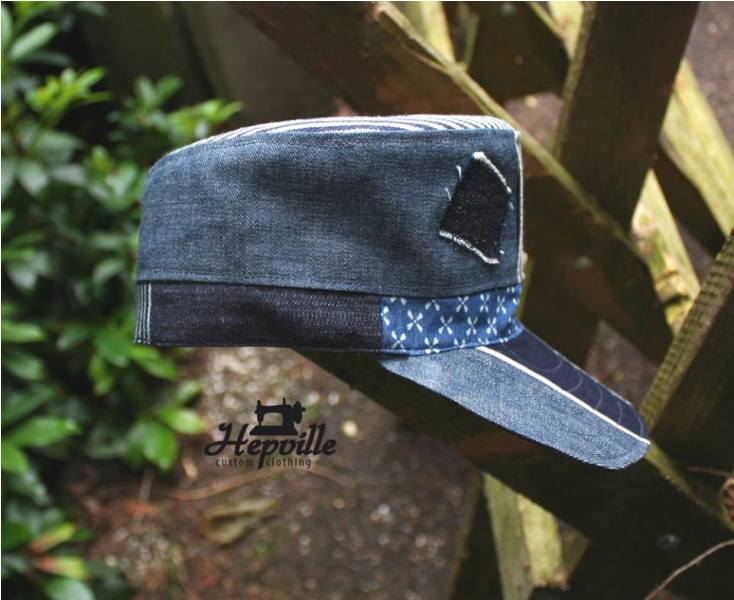 Handmande Cap by Hepville Custom Clothing cadet long john blog jeans denim chambray fabrics japan old new product unique selvage selvedge (4)