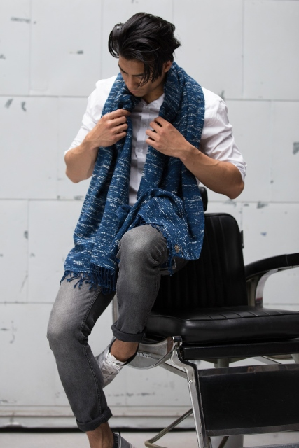 Indigo People x Denham_Tsuru long john blog rigid raw scarf shawl holland handmade blue indigo  (2)