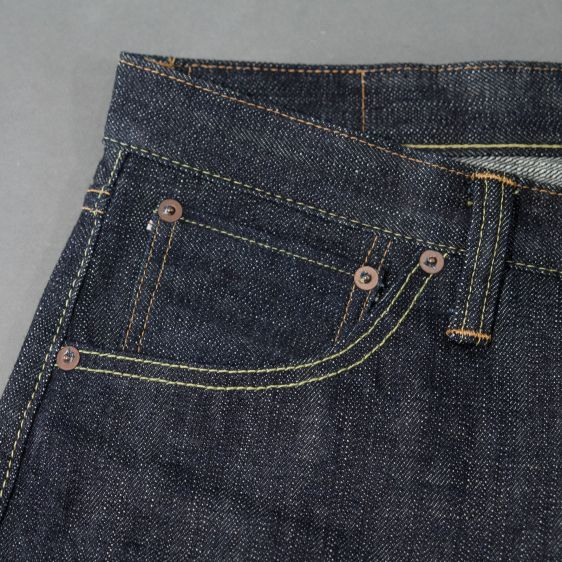Jelado jeans denim long john denim blue raw rigid selvage selvedge unwashed raw leather patch buttons pockets straight fit (7)