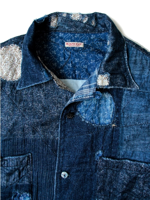 KAYA x INDIGO BORO Aloha Shirt kapital long john blog shirt sashiko japan authentic blue stiching rags old worn-out worn patch patched denim jeans fabric (1)