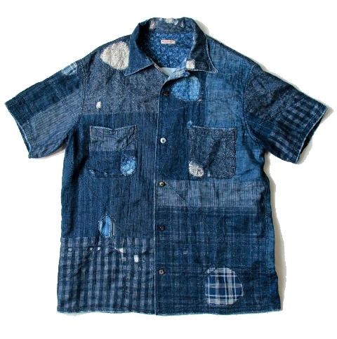 KAYA x INDIGO BORO Aloha Shirt kapital long john blog shirt sashiko japan authentic blue stiching rags old worn-out worn patch patched denim jeans fabric (2)