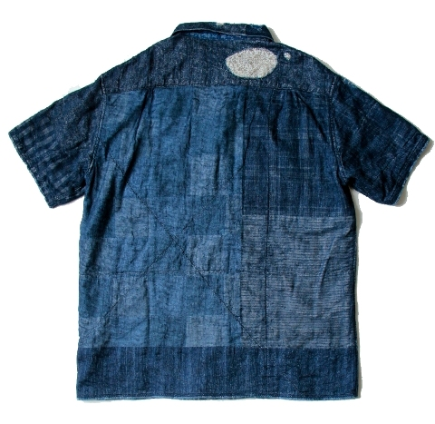 KAYA x INDIGO BORO Aloha Shirt kapital long john blog shirt sashiko japan authentic blue stiching rags old worn-out worn patch patched denim jeans fabric (4)