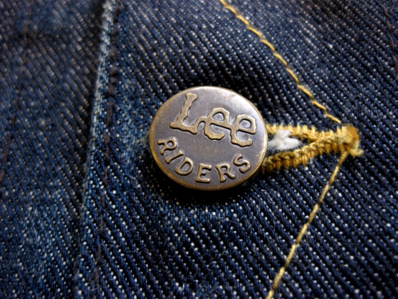 Lee Jeans farmers fair 1957 jacket long john blog rigid raw left hand special edition union made blue denim jeans buttons cat eyes non-selvage new codition vintage re-production  (8)