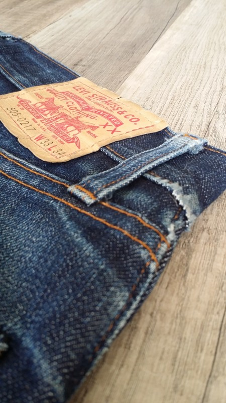 Levi's Vintage Clothing LVC 505 selvage selvedge red line long john blog lucien aberson holland rode winkel store shop worn-out faded blue rigid raw tabacco stiching (11)