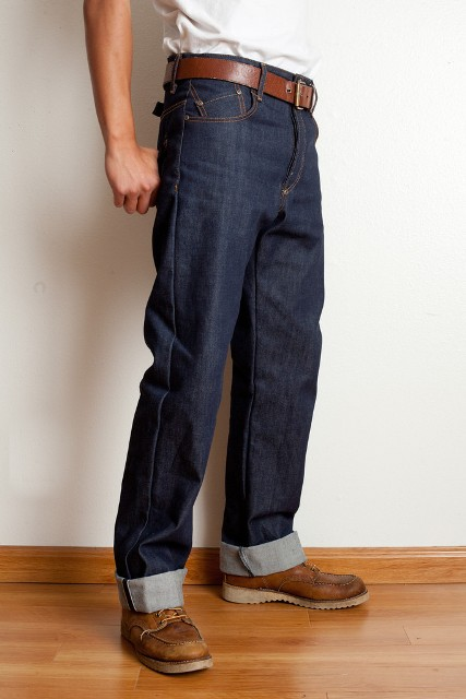 Maple Motorcycle jeans long john blog Straight Cut – 1941 – Made in Los Angeles selvage selvedge rigid raw blue unwashed 5 pocket inseam yoke pocket flasher bikers bikes motor (1)