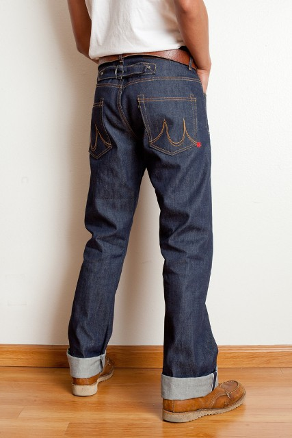 Maple Motorcycle jeans long john blog Straight Cut – 1941 – Made in Los Angeles selvage selvedge rigid raw blue unwashed 5 pocket inseam yoke pocket flasher bikers bikes motor (4)