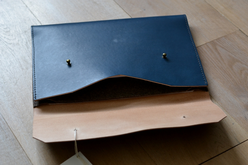 Noise goods indigo folio A4 clutch long john blog blue portugal natural tanned leather handmade europe denim jeans new paper bag big wallet canvas wool inner pocket (1)