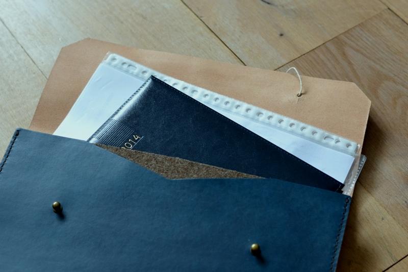 Noise goods indigo folio A4 clutch long john blog blue portugal natural tanned leather handmade europe denim jeans new paper bag big wallet canvas wool inner pocket (12)
