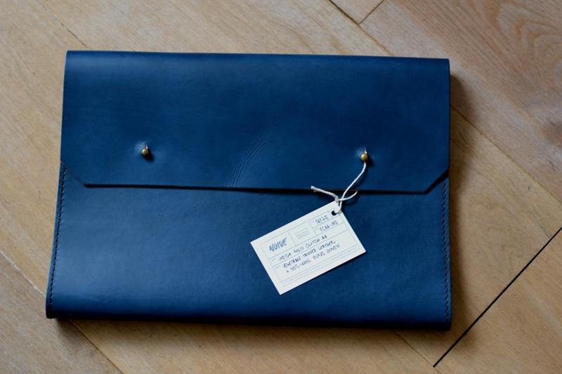 Noise goods indigo folio A4 clutch long john blog blue portugal natural tanned leather handmade europe denim jeans new paper bag big wallet canvas wool inner pocket (4)