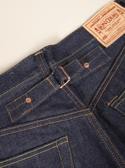 Universal works jeans denim selvage britisch long john blog blue rigid raw 5 pocket worn-out unwashed washed cinch back patch plain selvedge uk  (6)