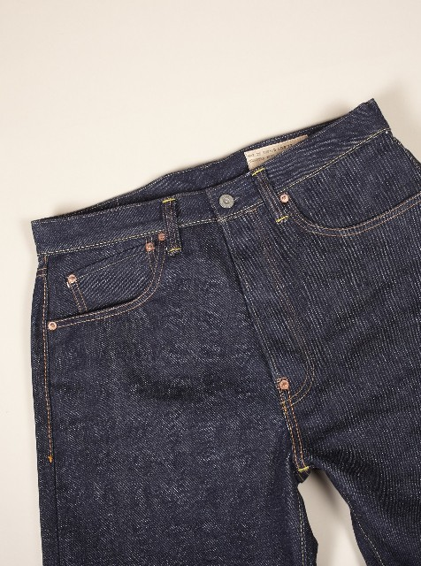 Universal works jeans denim selvage britisch long john blog blue rigid raw 5 pocket worn-out unwashed washed cinch back patch plain selvedge uk  (7)