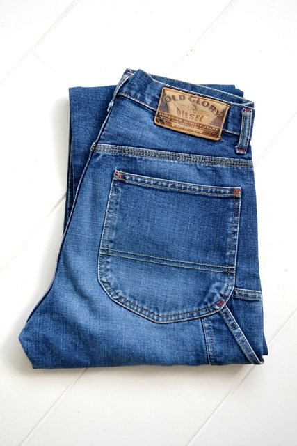 diesel old glory vintage long john blog labour denim jeans italy made 1994 blue indigo renzo rosso collection non selvage selvedge leather patch  (2)