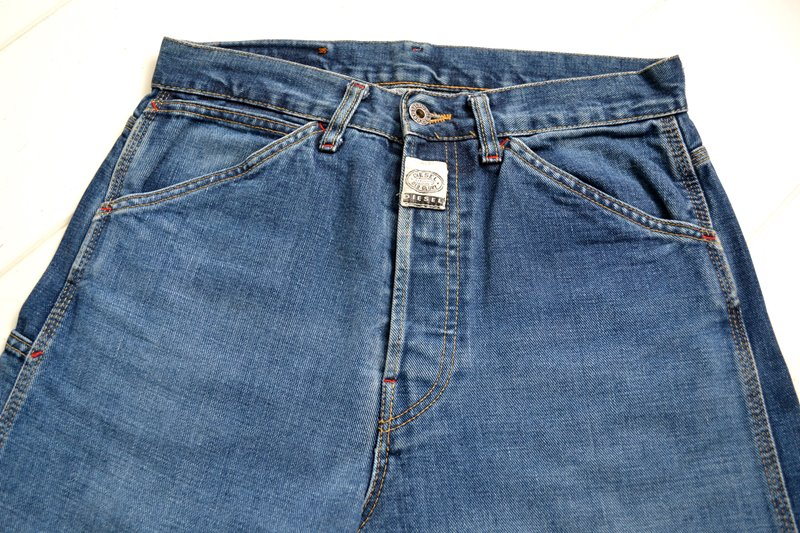 diesel old glory vintage long john blog labour denim jeans italy made 1994 blue indigo renzo rosso collection non selvage selvedge leather patch  (5)
