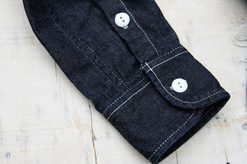 golden nugget jeans denim shirt long john blog blue raw rigid selvage selvage japan hand made washed fabric bull uk classic workwear chest pockets buttons  (1)