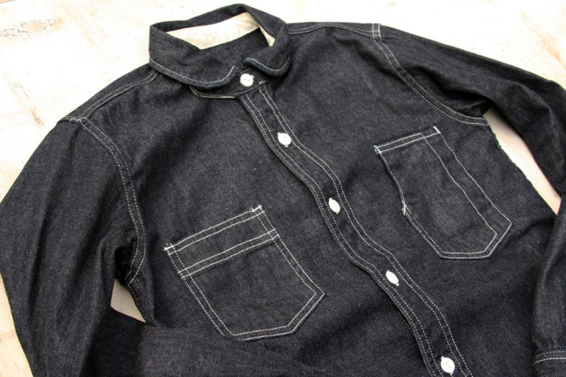 golden nugget jeans denim shirt long john blog blue raw rigid selvage selvage japan hand made washed fabric bull uk classic workwear chest pockets buttons  (4)