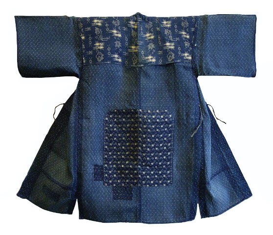 kimono japan long john blog blue workwear workers farmers blues indigo stitching sashiko rags blauw (2)