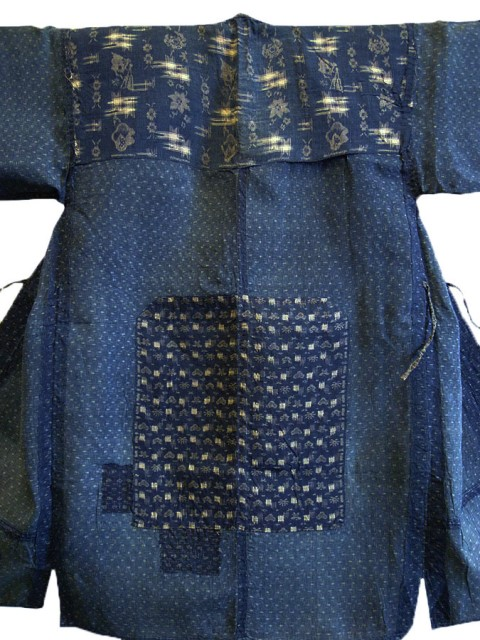 kimono japan long john blog blue workwear workers farmers blues indigo stitching sashiko rags blauw (3)