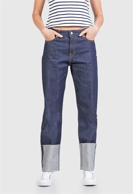 kings of indigo jeans denim longjohnblog indigo amsterdam holland women ladies spijkerbroek blue blauw 5 pocket patched repairs white shirt (2)