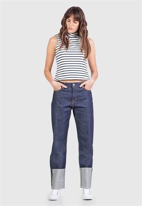 kings of indigo jeans denim longjohnblog indigo amsterdam holland women ladies spijkerbroek blue blauw 5 pocket patched repairs white shirt (3)