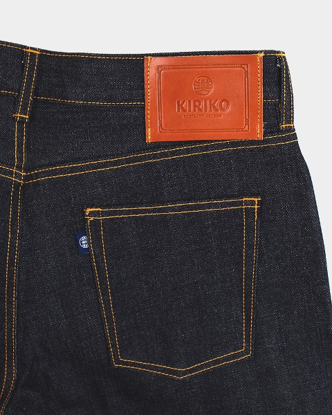 kiriko jeans denim long john blog blue indigo spijkerbroek kimono japan usa workwear 5 pocket leather patch straight fit yoke selvage selvedge zelfkant worn-out  (4)