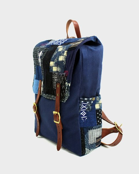 kiriko red cloud collab backpack long john blog brand portland limited edition boro sashiko blue indigo handmade craftsmanship blue indigo denim jeans(7)