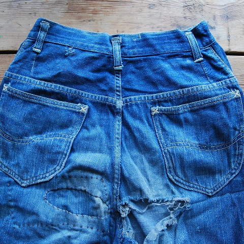 lee jeans vintage long john blog blue denim jeans ragtop clothing market david white 1945 selvage selvedge patch label needle spijkerbroek oud versleten blauw inseam pocket 5 pocket rivet rivets (7)