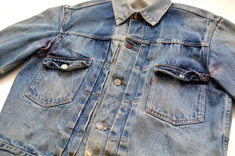 levis jeans 507XX long john blog blue indigo jacket jack vintage original wornout faded treasure archive selvage selvedge type 2 (16)
