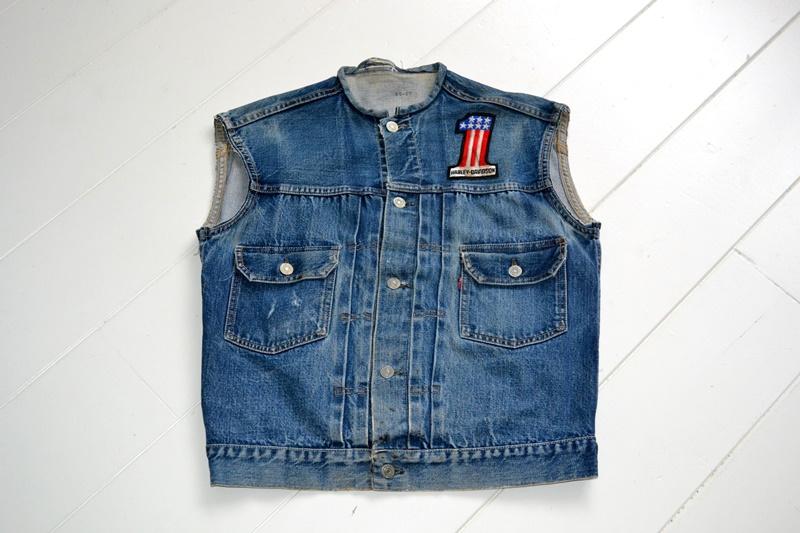 levis jeans big e type 2 507XX jacket jack long john blog biker cut-off sleeveless selvage selvedge white nomads vintage original usa harley davidson red tab us california blue indigo (2)