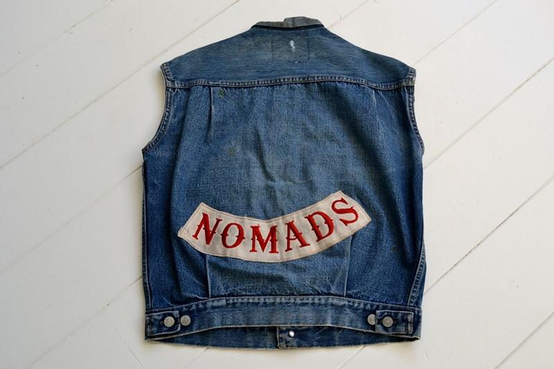 levis jeans big e type 2 507XX jacket jack long john blog biker cut-off sleeveless selvage selvedge white nomads vintage original usa harley davidson red tab us california blue indigo (9)