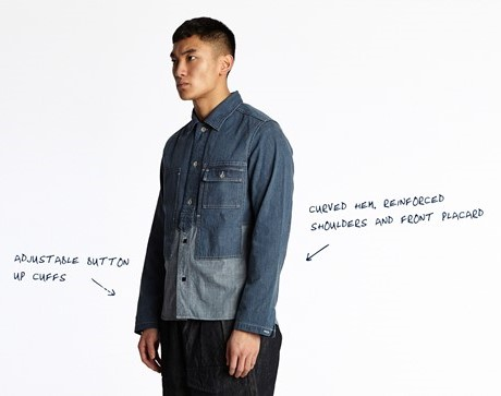 nigel cabourn long john blog denim jeans shirt indigo spring summer 2016 uk england jeans denim patchwork cut and sewn (4)