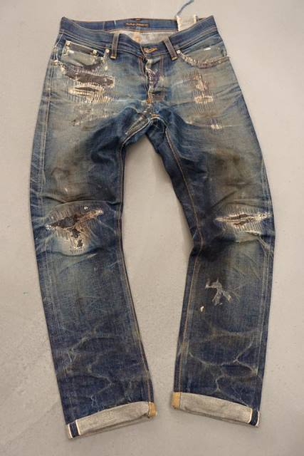 nudie jeans grim tim worn-out jeans denim  (2)