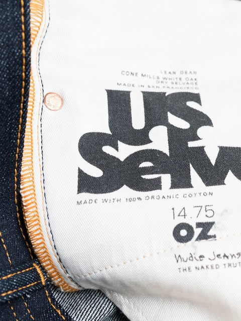 nudie jeans lean dean us selvage long john blog fabric selvedge denim blue indigo raw rigid unwashed patch leather sweden worn out  (1)