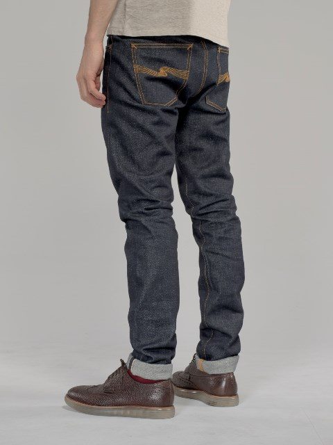 nudie jeans lean dean us selvage long john blog fabric selvedge denim blue indigo raw rigid unwashed patch leather sweden worn out  (2)