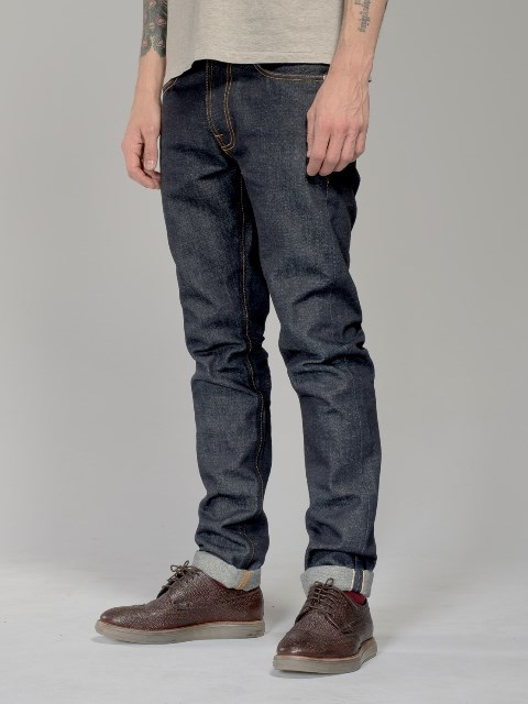 nudie jeans lean dean us selvage long john blog fabric selvedge denim blue indigo raw rigid unwashed patch leather sweden worn out  (8)