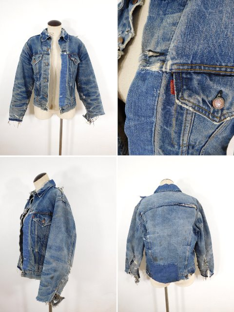 vintage levi's levis jacket 557XX big e original longjohnblog long john blog red tab levi strauss 1960 type 3 worn-out worn blue repair lined (1)