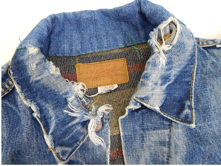 vintage levi's levis jacket 557XX big e original longjohnblog long john blog red tab levi strauss 1960 type 3 worn-out worn blue repair lined (4)
