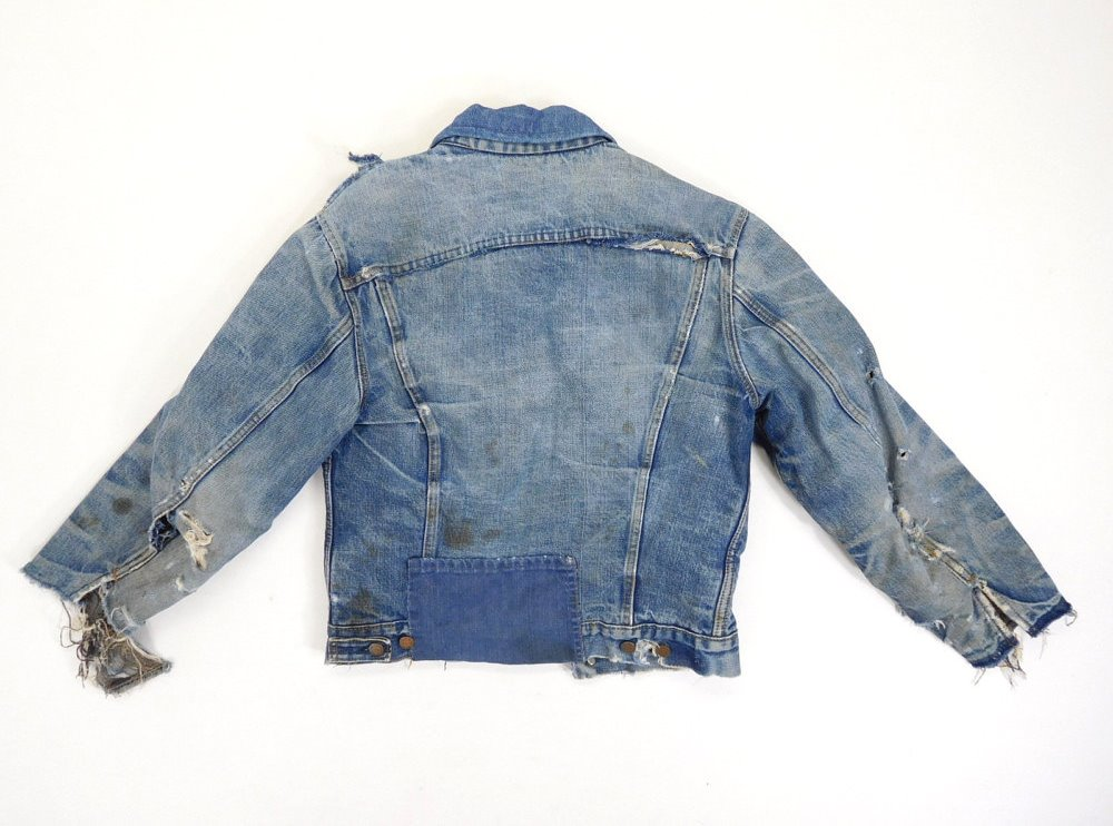 vintage levi's levis jacket 557XX big e original longjohnblog long john blog red tab levi strauss 1960 type 3 worn-out worn blue repair lined (9)