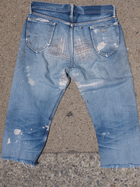 worn-out jeans warehouse japan long john blog repairs repaired vintage authentic old selvage selvedge shuttle loom 30 inch fabric blue patched old school 17 years old rigid treasure pearl  (2)