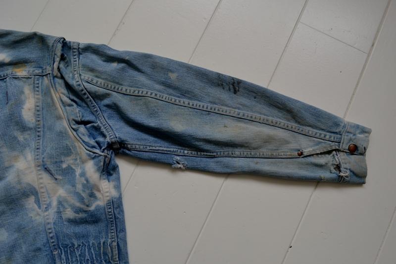 wrangler 8mz jacket long john blog jeans denim 8oz left hand fabric golden yellow selvage selvedge zipper one breast pocket usa blue bell 1951 (1)