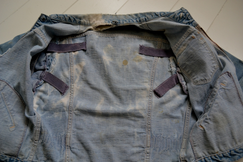 wrangler 8mz jacket long john blog jeans denim 8oz left hand fabric golden yellow selvage selvedge zipper one breast pocket usa blue bell 1951 (10)