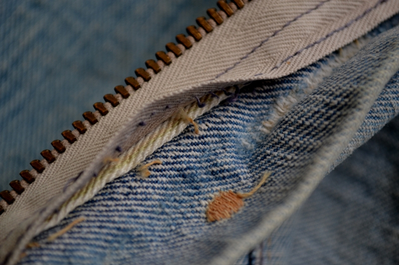 wrangler 8mz jacket long john blog jeans denim 8oz left hand fabric golden yellow selvage selvedge zipper one breast pocket usa blue bell 1951 (12)