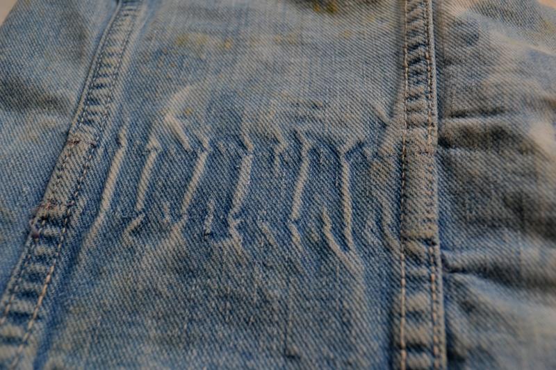 wrangler 8mz jacket long john blog jeans denim 8oz left hand fabric golden yellow selvage selvedge zipper one breast pocket usa blue bell 1951 (16)