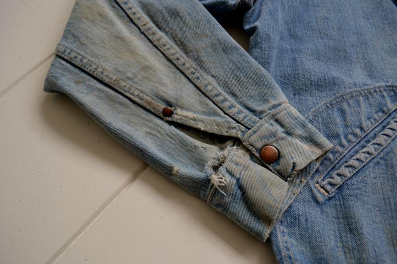 wrangler 8mz jacket long john blog jeans denim 8oz left hand fabric golden yellow selvage selvedge zipper one breast pocket usa blue bell 1951 (7)