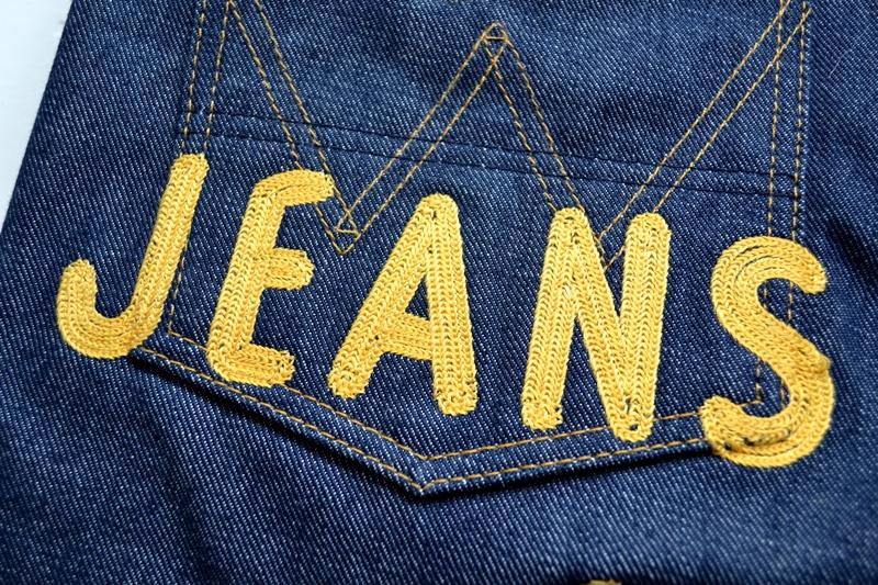 wrangler blue bell champion pants long john blog rodeo clown jeans denim deadstock non-selvage left hand fabric blue indigo usa western (14)