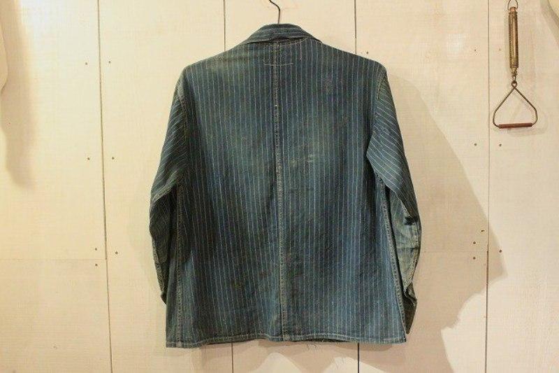 1920 stiffel railroad jacket vintage long john blog clothing treasure hunting japan used worn-out blue old train authentic rare  (11)